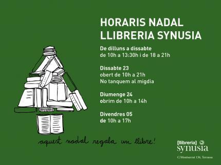 HORARIS DE NADAL A  LLIBRERIA SYNUSIA!